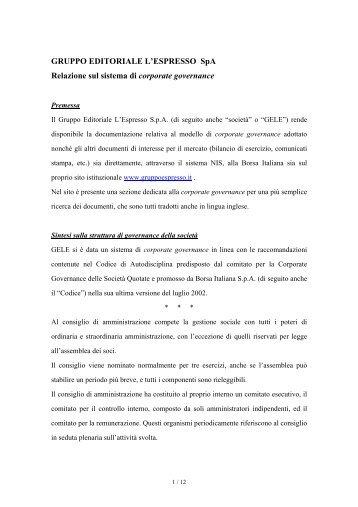 Relazione sul sistema di corporate governance e sull'adesione al ...