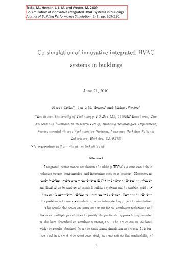 Proceedings of the 1st in for Innovative hvac systems