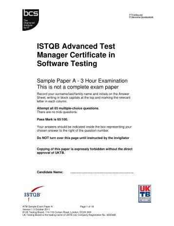 istqb advanced test analyst certificate in software testing