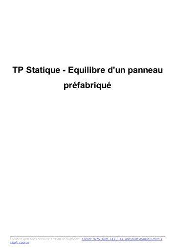 TP Statique - Equilibre d'un panneau préfabriqué