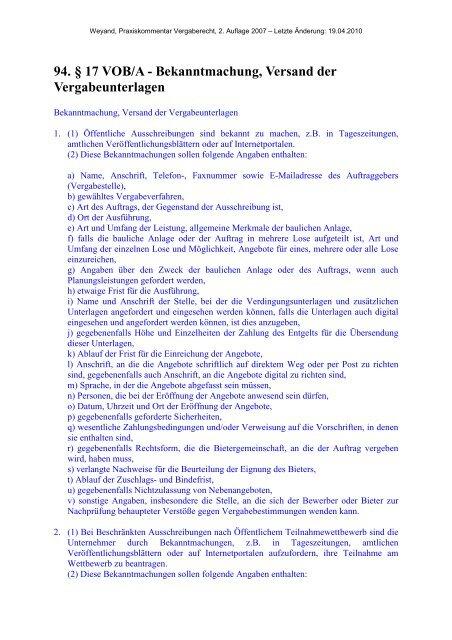 Bekanntmachung, Versand der Vergabeunterlagen - Oeffentliche ...