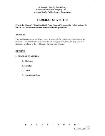 Federal Statutes - Syracuse University College of Law