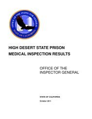 high desert state prison medical inspection results - California ...