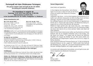 Programm Ottobrunner Ferienpass 2013 - VHS SüdOst