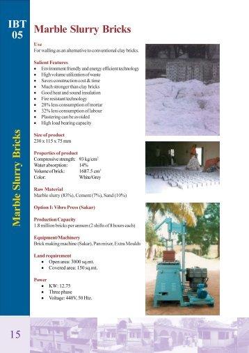 IBT 05 Marble Slurry Bricks 15 - UNIDO-ICAMT