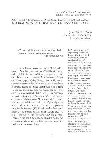 ARTIFICIOS VERBALES - Estudios – Revista de Investigaciones ...