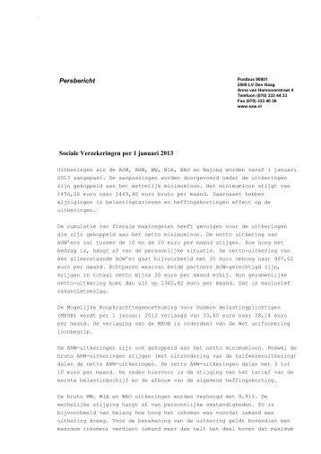 Sociale Verzekeringen per 1 januari 2013 - Rijksoverheid.nl