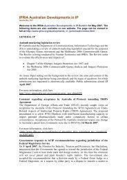 Australian Developments Bulletin - Intellectual Property Research ...