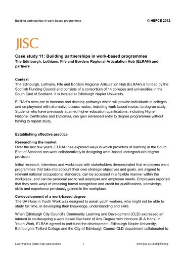 Case study 11: Building partnerships in work-based programmes - Jisc