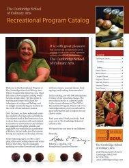 Recreational Program Catalog - The Cambridge School of Culinary ...