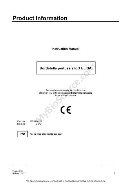 Bordetella pertussis IgG ELISA - MyBioSource