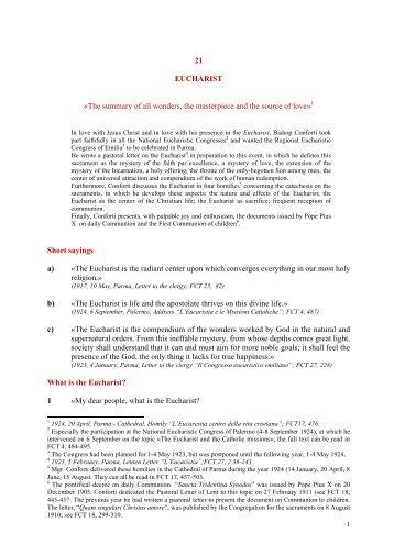 21 EUCHARIST «The summary of all wonders, the ... - saveriani.com