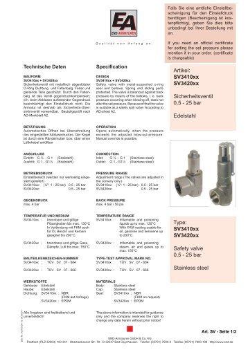 SV3410xx SV3420xx Safety valve 0,5