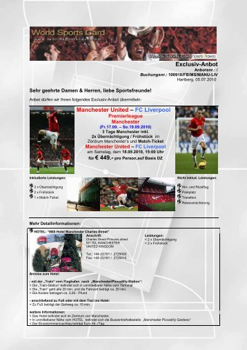 Exclusiv-Anbot Manchester United – FC Liverpool - World Sports Card