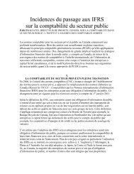 Incidences du passage aux IFRS sur la comptabilité du secteur public