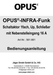 UP-Schaltaktor 1-fach, mit Schließer und ... - OPUS Schalter
