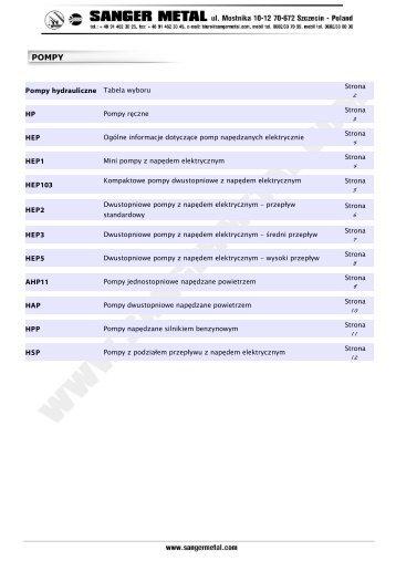 Pompy hydrauliczne Tabela wyboru HP HEP ... - SANGER METAL