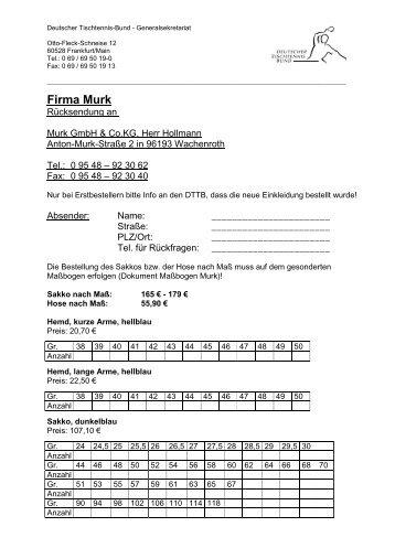 Firma Murk - Deutscher Tischtennisbund DTTB