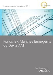 Fonds ISR Marches Emergents de Dexia AM