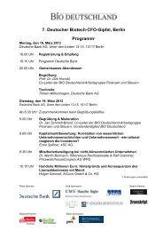 7. Deutscher Biotech-CFO-Gipfel, Berlin Programm* - BIO Deutschland