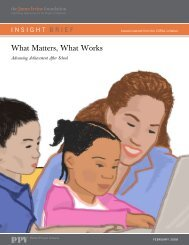 What Matters, What Works - California After School Resource Center