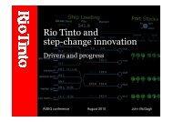 Rio Tinto and step-change innovation