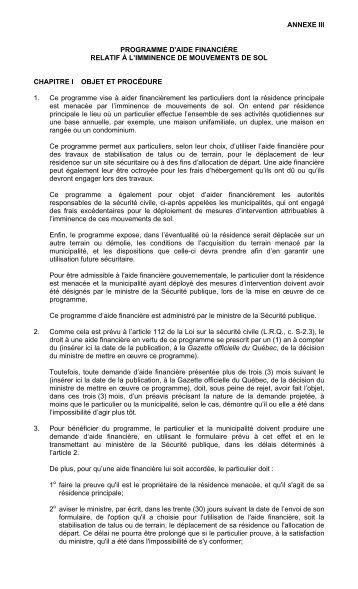 ANNEXE III PROGRAMME D'AIDE FINANCIÈRE RELATIF À L ...