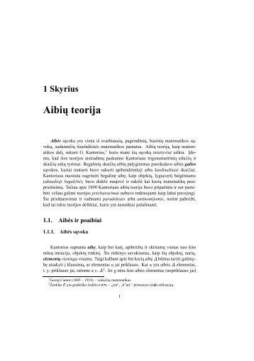 1 Skyrius Aibi ˛u teorija - techmat.vgtu.lt