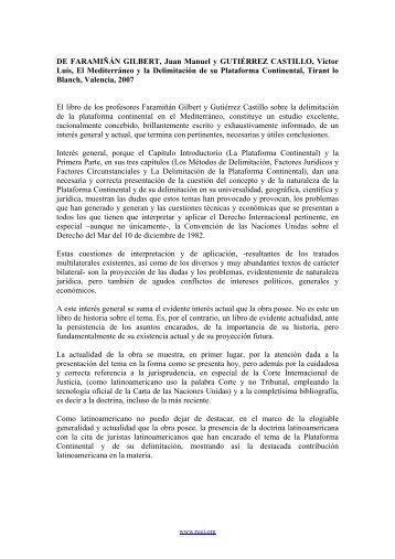 DE FARAMIÑÁN GILBERT, Juan Manuel y GUTIÉRREZ CASTILLO ...