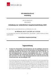 Einladung und Tagesordnung - IFM Immobilien AG