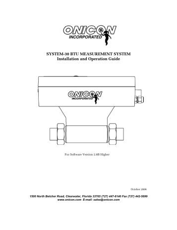 System 30 Btu Measurement System Onicon Incorporated