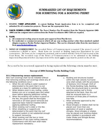 Good Summarized List Of Requirements For Submitting For A Roofing Permit