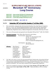 Supplementary Regulations - Off Road Racing - Australia