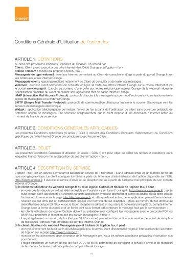 Conditions Générale d'Utilisation de l'option fax - Orange
