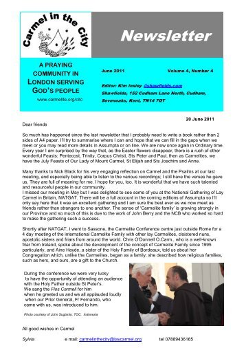 Newsletter - British Province of Carmelite Friars