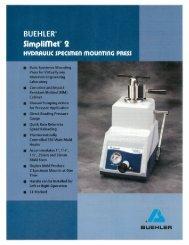 Buehler SIMPLIMET 2 Specifications