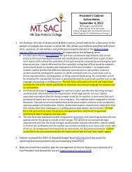 President's Cabinet Action Notes September 4, 2012