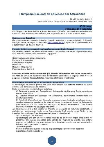 1 II Simpósio Nacional de Educação em Astronomia - Axpfep1.if.usp.br