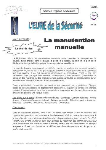N°15 - La Manutention manuelle - MAJ juin 2009 - CDG27