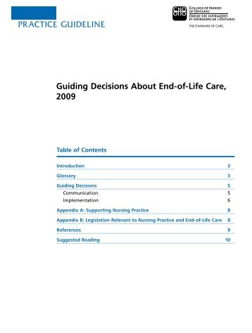 Guiding Decisions About End-of-Life Care, 2009 - College of Nurses ...