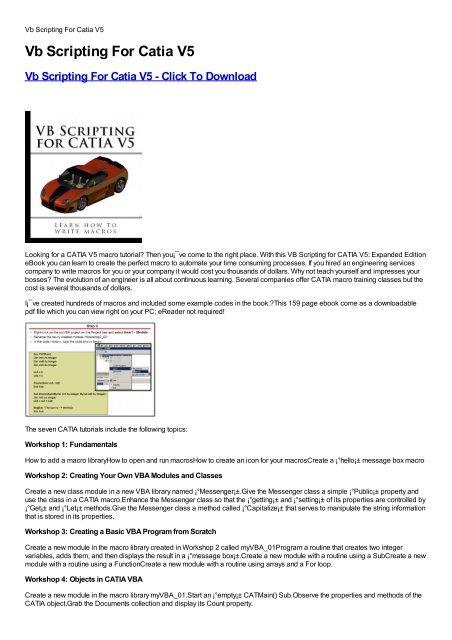 Vb Scripting For Catia V5 - Download PDF