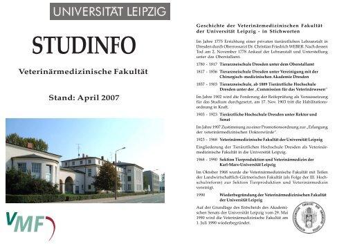 Studinfo_Juli 2007.pdf - Veterinärmedizinische Fakultät - Universität ...