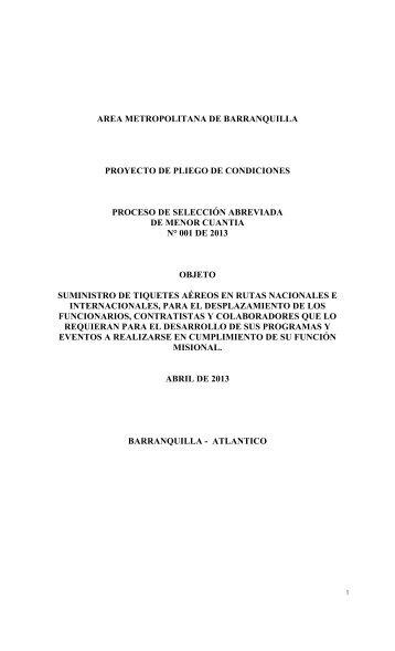 area metropolitana de barranquilla proyecto de pliego de ...