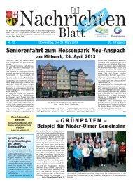 Nachrichtenblatt Nr. 12 vom 21. März 2013 - Verbandsgemeinde ...