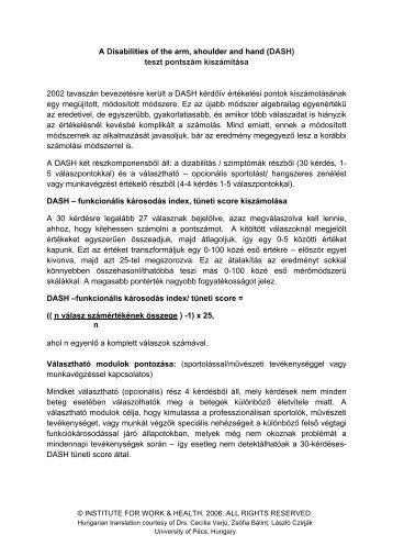 DASH Scoring Instructions_ Hungarian - Institute for Work & Health