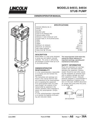 Lincoln Diaphragm Pump Lincoln Pumps And Lubrication