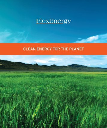 methane is a greenhouse gas with 20 to 25 times the ... - Flexenergy