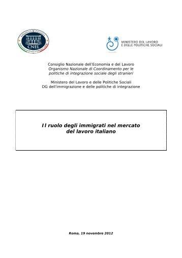 CNEL MLPS Il ruolo degli immigrati nel mercato del lavoro italiano