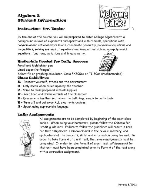 Taylor syllabus alg2 pdf - Moon Valley High School