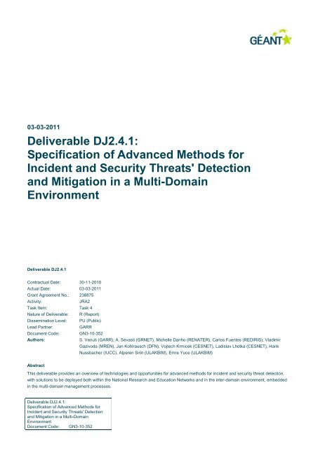 Specification of Advanced Methods for Incident and Security
